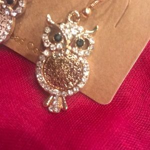 NWT Gold Owl Earrings With Bling Trim
